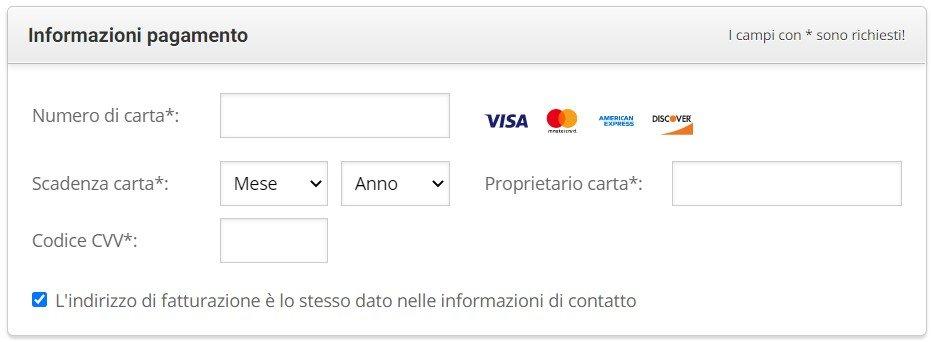 informazioni pagamento